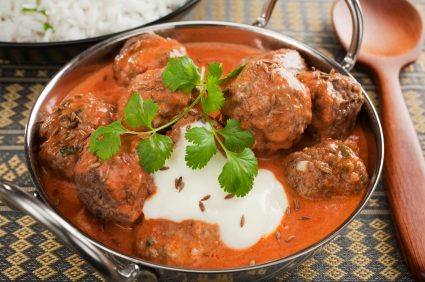 Indian Meatball or Kofta Curry in a Balti Dish